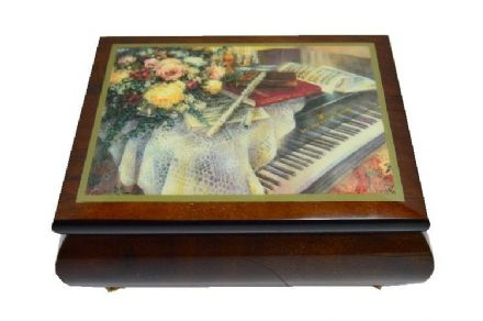 Harmonic Duet - Piano and Flute Design Musical Jewellery Box MBEG0705BRL